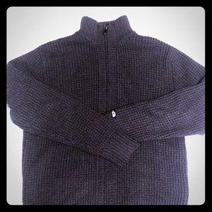 North Face Men's Knit Wool Blend Full Zip Sweater